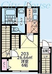 小田急小田原線 町田駅 徒歩15分の賃貸アパート 2階1Kの間取り