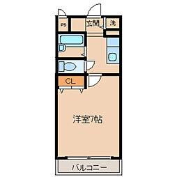 ジェンティーレ 1階1Kの間取り