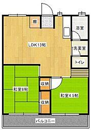 栗木第2ビル[4階]の間取り
