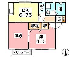 シャトー秋桜 B[101号室]の間取り