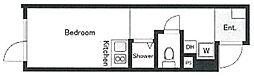 京王線 幡ヶ谷駅 徒歩6分の賃貸マンション 4階ワンルームの間取り