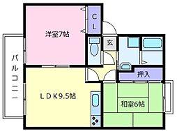 ALLEY島泉131D[2階]の間取り