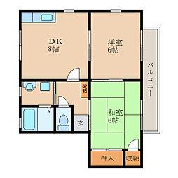 滋賀県守山市古高町の賃貸アパートの間取り