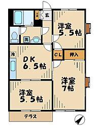 東京都八王子市南大沢1丁目の賃貸アパートの間取り