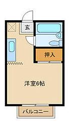 京王線 百草園駅 徒歩8分の賃貸マンション 1階1Kの間取り