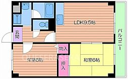 フィールズ田中II 4階2LDKの間取り