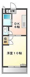 愛知県豊橋市西口町字元茶屋の賃貸アパートの間取り