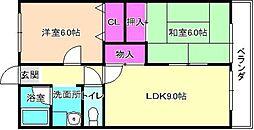 大阪府枚方市藤阪中町の賃貸マンションの間取り