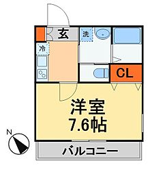 キャメル新松戸2A棟 2階1Kの間取り