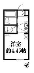 ポンデロッサ 小田弐番館 1階ワンルームの間取り