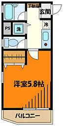 JR中央線 八王子駅 徒歩6分の賃貸マンション 8階1Kの間取り