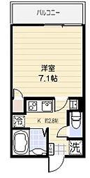 アクティ氷川台 2階1Kの間取り