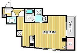 ブライトフューチャー東大島 5階ワンルームの間取り