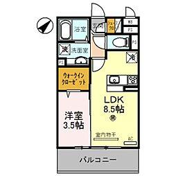 D-room野崎 2階1LDKの間取り