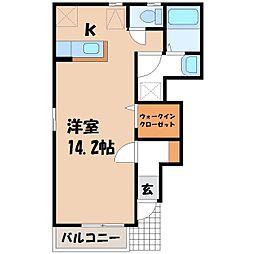 栃木県下野市上大領の賃貸アパートの間取り