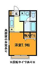 JR中央線 西八王子駅 バス10分 長房団地下車 徒歩3分の賃貸アパート 2階1Kの間取り