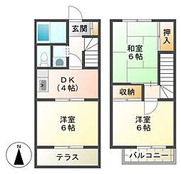 [テラスハウス] 東京都八王子市下柚木 の賃貸【東京都 / 八王子市】の間取り