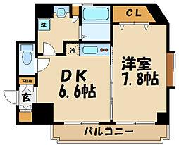 小田急小田原線 千歳船橋駅 徒歩8分の賃貸マンション 2階1DKの間取り