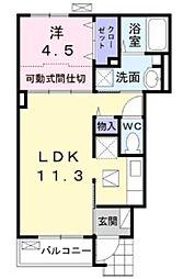 ブルックヒルズVI 1階1LDKの間取り