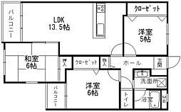 シャトレ南福岡[203号室]の間取り