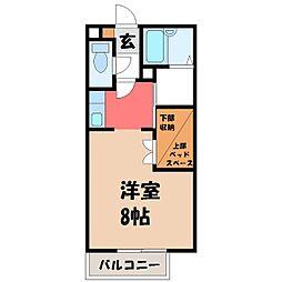 栃木県宇都宮市中今泉4の賃貸アパートの間取り