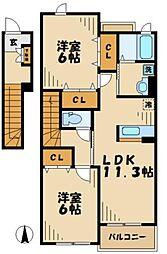東京都八王子市南大沢2丁目の賃貸アパートの間取り