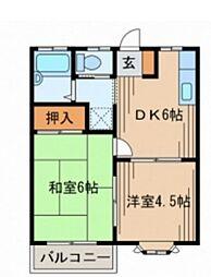 神奈川県横浜市青葉区桂台2丁目の賃貸アパートの間取り