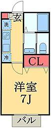京成千葉線 みどり台駅 徒歩8分の賃貸アパート 2階1Kの間取り