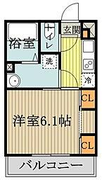 西武国分寺線 鷹の台駅 徒歩2分の賃貸アパート 3階1Kの間取り