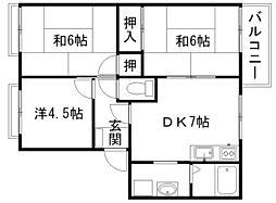 シャトレ岡田Ⅱ[2階]の間取り
