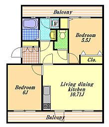 サンサシオン[2階]の間取り