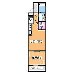 フジパレス深井水賀池 2階1LDKの間取り