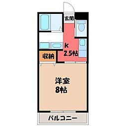 栃木県宇都宮市氷室町の賃貸アパートの間取り