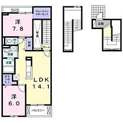 プチ フローラ 北野田II 3階2LDKの間取り