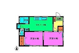 石塚アパート[1F号室]の間取り