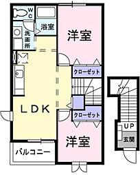 埼玉県草加市新里町の賃貸アパートの間取り