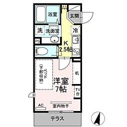 小田急小田原線 生田駅 徒歩4分の賃貸アパート 1階1Kの間取り