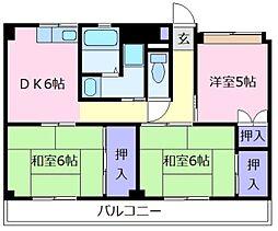 ビレッジハウス城蓮寺2号棟[5階]の間取り
