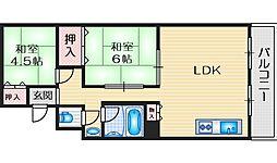 竹谷マンション 3階2LDKの間取り
