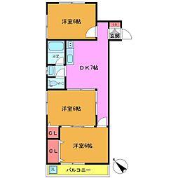 永井コーポラス[2階]の間取り