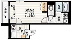 The Terrace Yotsuya 2階1Kの間取り