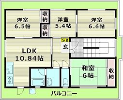 おしゃれ館新森 5階4LDKの間取り