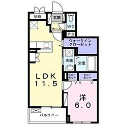 小田急小田原線 鶴川駅 徒歩22分の賃貸マンション 1階1LDKの間取り