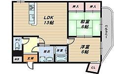 大阪府泉大津市助松町2丁目の賃貸マンションの間取り