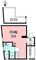 スズランスタジオ 3階ワンルームの間取り
