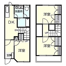 [テラスハウス] 神奈川県川崎市多摩区中野島6丁目 の賃貸【/】の間取り