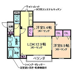 大阪府豊中市千里園3丁目の賃貸アパートの間取り