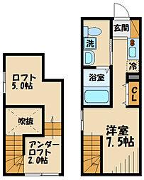 京王線 府中駅 徒歩6分の賃貸アパート 1階ワンルームの間取り