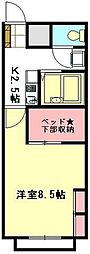 JR高崎線 鴻巣駅 徒歩25分の賃貸アパート 1階1Kの間取り