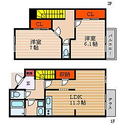 [テラスハウス] 滋賀県彦根市後三条町 の賃貸【/】の間取り